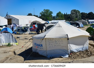 Idomeni/Greece-April 15, 2016: Inscription on the UNHCR tent in transit refugee/migrant camp at the Greek-North Macedonian border. Thousands of people on the move stuck on their way to Western Europe.