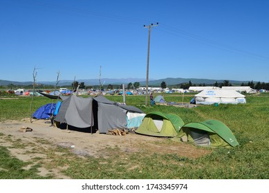 Idomeni/Greece-April 15, 2016: Tents as improvised houses. Difficult life conditions in transit refugee/migrant camp at the Greek-North Macedonian border. Families stuck on their way to Western Europe