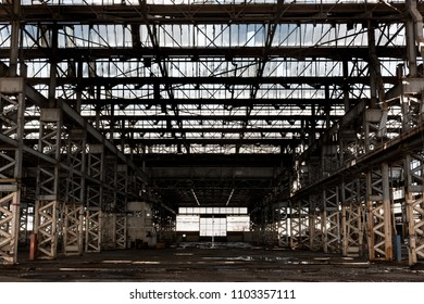 Idustrial interior framed by steel girders