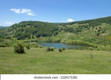 idyll landscape of Cartolari Lake in Nebrodi Park, Sicily
