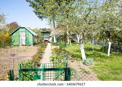 Idyllic allotment garden in Wroclaw, Silesia, Poland, 04-20-2019
