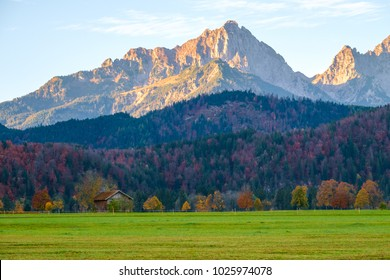 Idyllic autumn landscape in the Bavarian Alps, Germany
