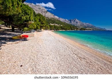 Idyllic beach Punta Rata in Brela view, Makarska riviera of Dalmatia, Croatia