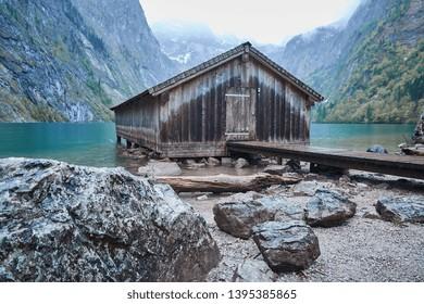 Idyllic boathouse at german lake in bavaria