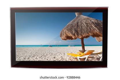 Idyllic Caribbean beach on the flat TV display