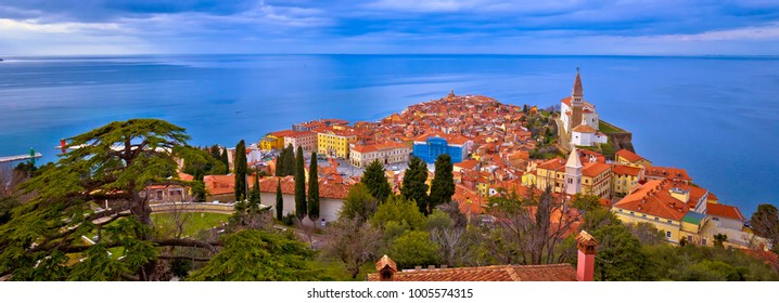 Idyllic coastal town of Piran on Adriatic sea aerial panoramic view, Slovenia