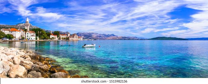 Idyllic coastal villages in Croatia. Kastella in Dalmatia. view of picturesque Kastel Stafilic