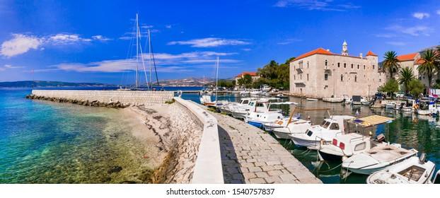 Idyllic coastal villages in Croatia. Scenic Kastella in Dalmatia