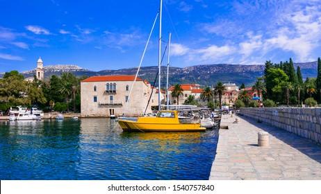 Idyllic coastal villages in Croatia. Scenic Kastella in Dalmatia, beautiful Kastel Lucsic village