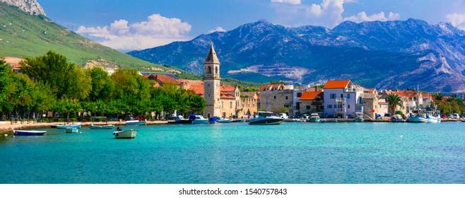 Idyllic coastal villages in Croatia. Scenic Kastella in Dalmatia, view of Kastel Kambelovac village