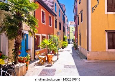 Idyllic colorful mediterranean street of Novigrad Istarski, town in archipelago of Istria, Croatia