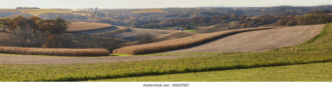 Idyllic country farm during harvest time