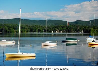 An Idyllic day on the Lake in the Berkshire Mountains, Massachusetts