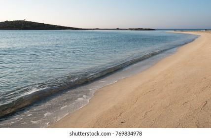 Idyllic empty golden sandy beach at Nissi beach, Ayia Napa, Cyprus