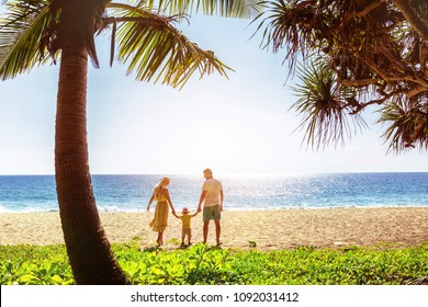 Idyllic family at beautiful tropical sea beach. Phuket island, Thailand