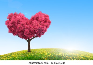 idyllic field landscape with flowers and pink tree in heart shape