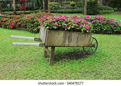 Idyllic Flower Garden With Old Wooden Cart. Flower Cart In Doi Tung,  Thailand.