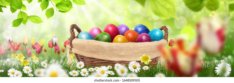 Idyllic garden with Easter eggs and tulips - Shutterstock ID 1648509505