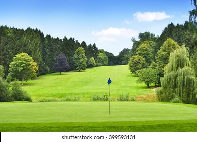 Idyllic golf course with forest and golf flag. Summer landscape, park.
