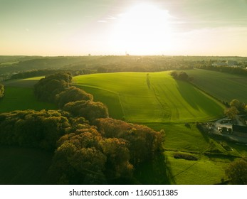 Idyllic green landscape in Germany, drone picture