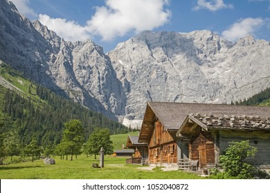 Idyllic huts on the alpine pastures of Eng in the heart of the Karwendel mountains in Tirol