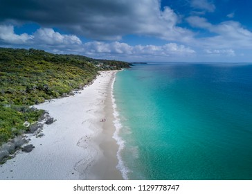 Idyllic Hyams Beach Australia with beautiful white sandy beaches and crystal clear waters