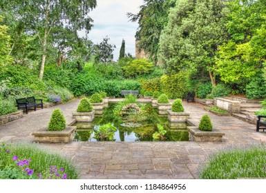 Idyllic Imola Garden in Colchester in spring, Essex, England, United Kingdom.