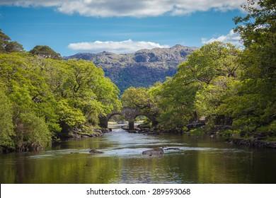 Idyllic Irish Setting With An Old Bridge Over A Beautiful River