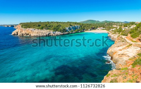 Idyllic island scenery, beautiful coast of beach Cala Romantica Majorca, Mediterranean Sea Spain