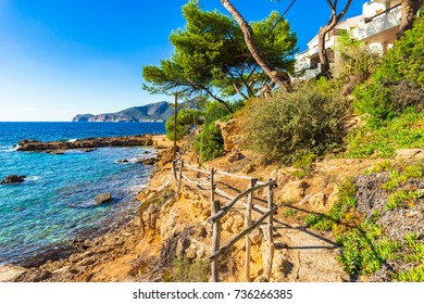 Idyllic island scenery on Majorca, beautiful coast Spain, Balearic Islands.