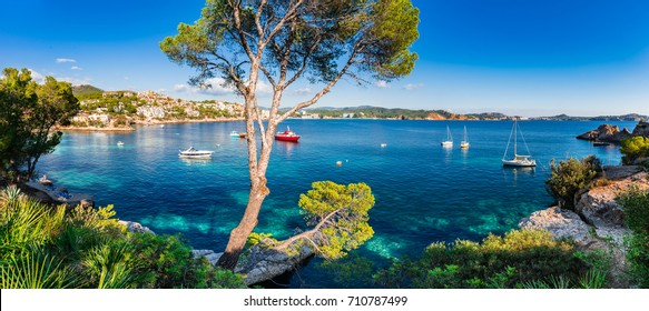 Idyllic island scenery, panorama view of bay with boats at Cala Fornells on Majorca, Spain Mediterranean Sea, Balearic Islands.