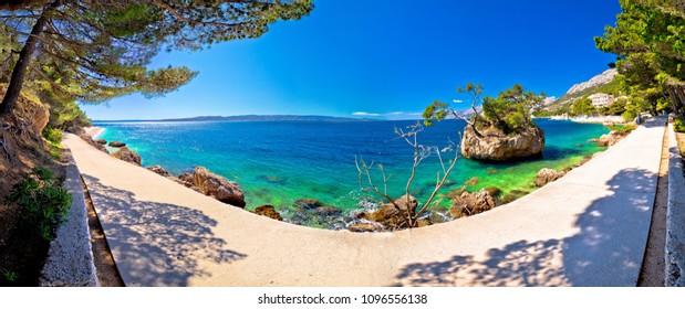 Idyllic islet on Punta Rata beach in Brela panoramic view, Makarska riviera of Dalmatia, Croatia