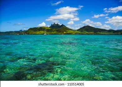 Idyllic lagoon view with mountains