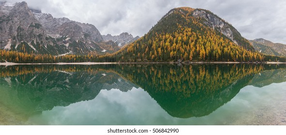 Idyllic Lake Braies in the early autumn morning with mist rolling over the golden larches.
