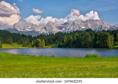 The idyllic lake Geroldsee in the Karwendel Mountains of the Bavarian alps.
