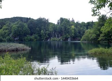 Idyllic lake landscape in Plitvice Lakes National Park (Nacionalni park Plitvicka jezera). Karlovac County, Croatia.