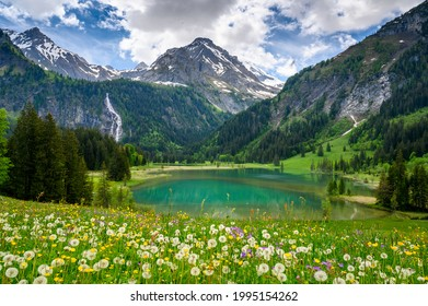 idyllic Lake Lauenensee with Wildhorn in spring, Bernese Alps, Switzerland - Shutterstock ID 1995154262
