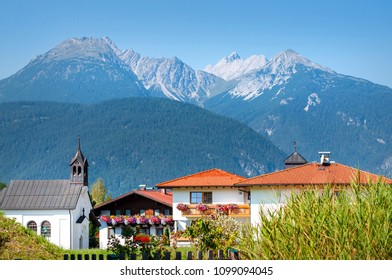Idyllic Landscape In Alps With Mountain