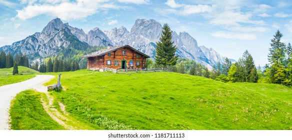 Idyllic landscape in the Alps with traditional mountain chalet and fresh green mountain pastures in summer