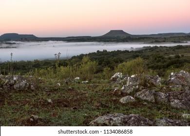 Idyllic landscape of Cuchilla del Ombu, hills in Tacuarembo, north-central Uruguay