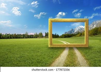 Idyllic landscape with frame