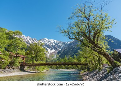 Idyllic landscape of Hotaka mountains and Kappa bridge in Kamikochi, Nagano, Japan