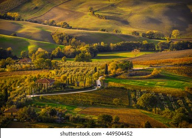 An idyllic landscape large view over Montepulciano countryside, as seen from the town's top, bathed in the autumn sunset light
