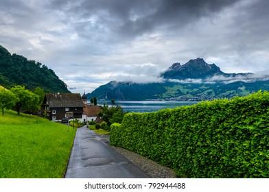 An idyllic landscape at village Kehrsiten on the banks of Lake Luzern, Switzerland.