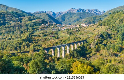 Idyllic landscape with the village of Poggio and the Apuan Alps in the background. Province of Lucca, Tuscany, central Italy.