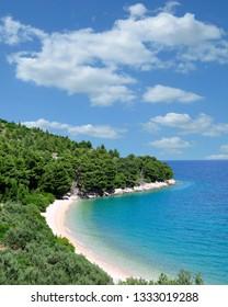 idyllic little Beach at Makarska Riviera near Brela,adriatic Sea,Dalmatia region,Croatia