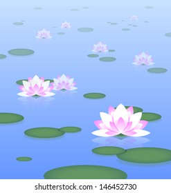 Idyllic lotus pond with haze effect in the background