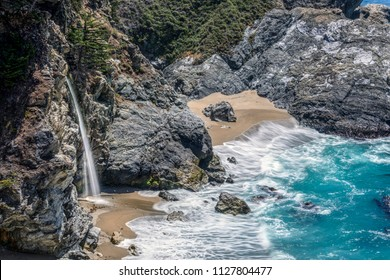 Idyllic McWay Falls, along the Big Sur area of Central California, is said to be one of only two waterfalls in California that empties directly into the Pacific Ocean.