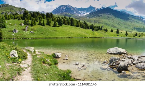 idyllic mountain lake landscape in the Swiss Alps