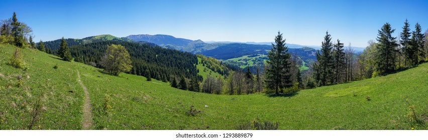 Idyllic natural panorama with rolling hills of Fatra Mountains in Slovakia on sunny summer day.